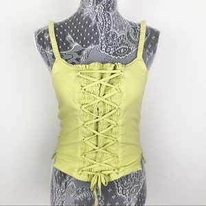 Free People Green Lace Up Tank